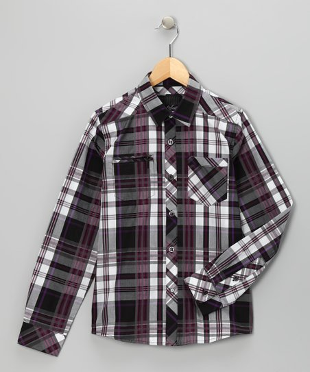 Purple Plaid The Thrill Woven Button-Up - Boys