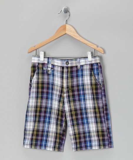 Navy Plaid Monk Shorts - Boys