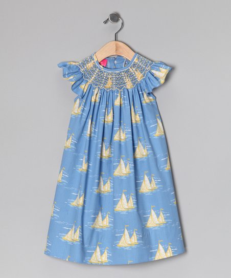 Blue & Yellow Sailboat Dress - Infant, Toddler & Girls