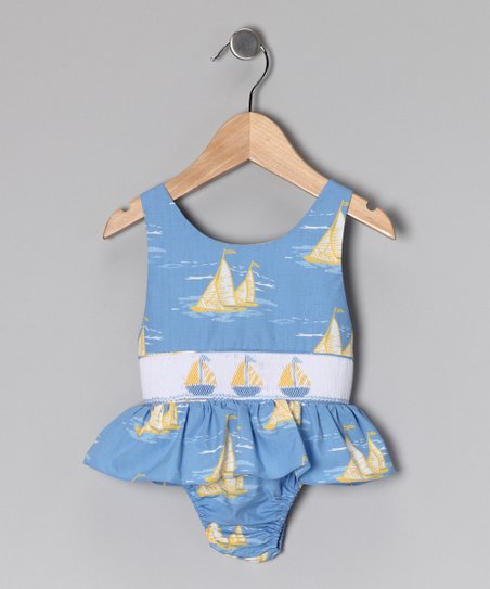 Blue & Yellow Sailboat Sunsuit - Infant & Toddler