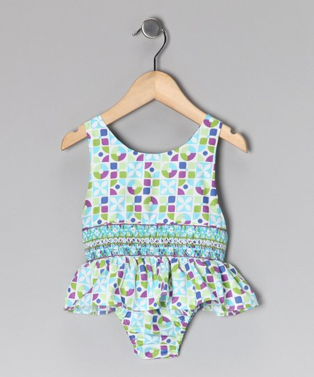 Green & Turquoise Floral Sunsuit - Infant & Toddler