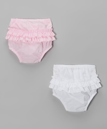Pink & White Ruffle Diaper Cover Set - Infant