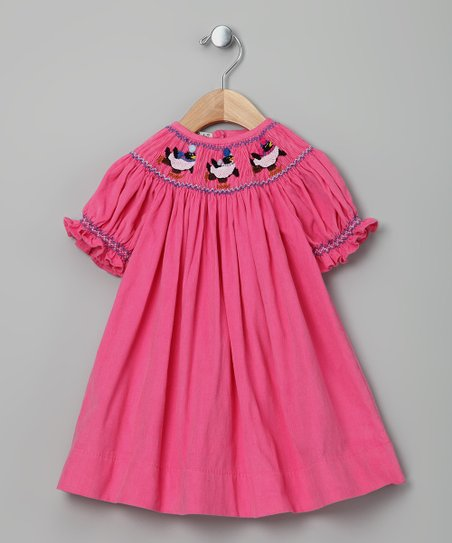 Pink Penguin Corduroy Bishop Dress - Infant & Toddler
