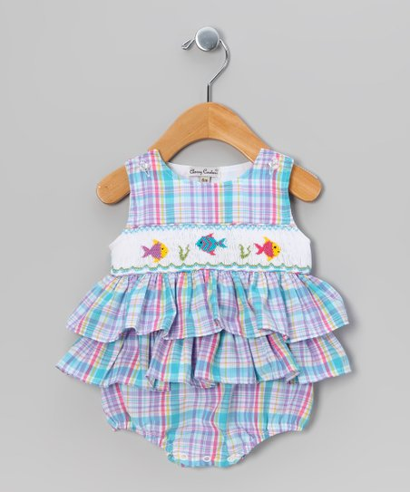 Blue & Purple Fish Skirted Bodysuit - Infant