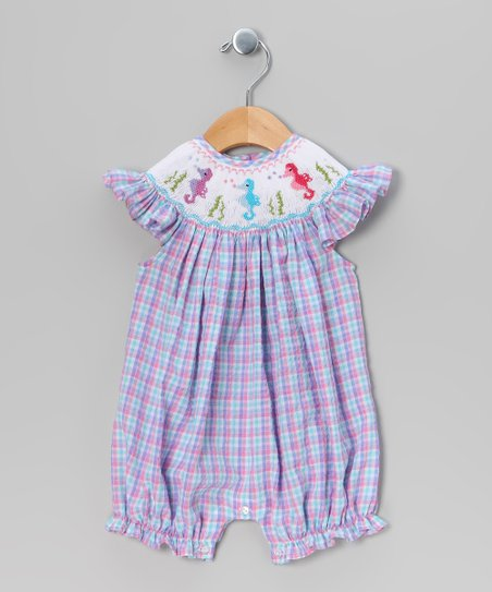 Pink &amp; Turquoise Plaid Seahorse Romper - Infant