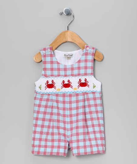 Red & Blue Plaid Crab John Johns - Infant