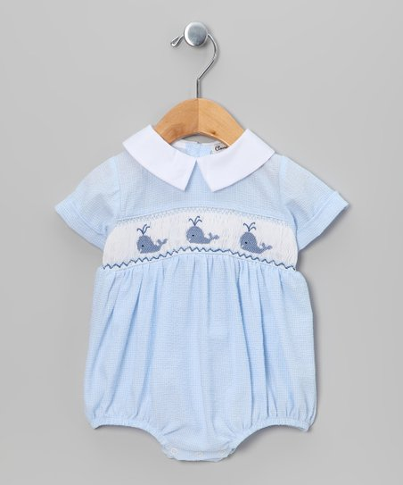 Blue &amp; White Gingham Whale Bubble Bodysuit - Infant