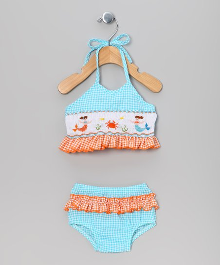 Blue & Orange Gingham Crab Bikini - Infant, Toddler & Girls