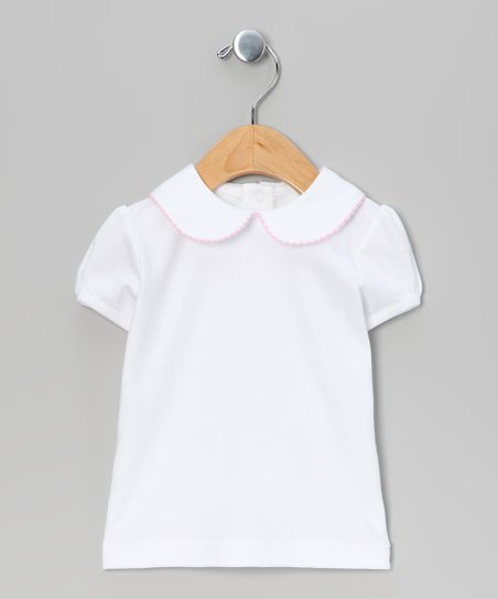 White & Pink Cap-Sleeve Top - Infant