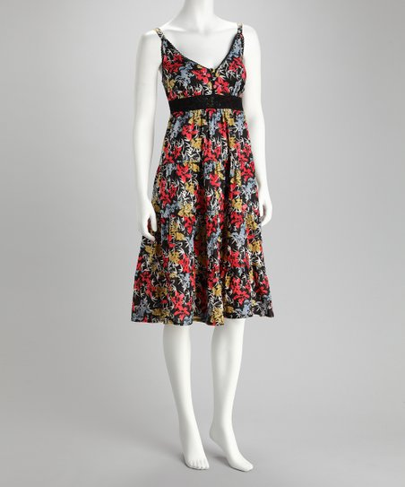 Claudia Richard Black Floral Surplice Dress