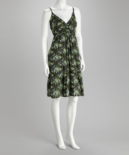 Claudia Richard Green & Black Surplice Dress