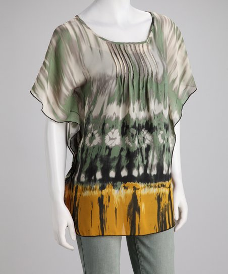 Olive Sheer Tribal Tunic