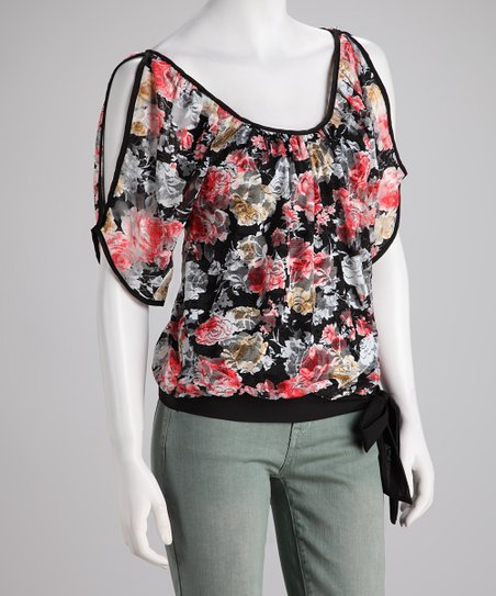 Black Sheer Floral Cutout Top