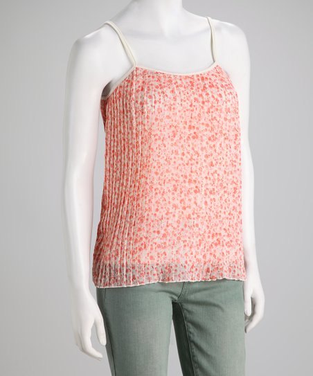 Ivory & Peach Pleated Camisole