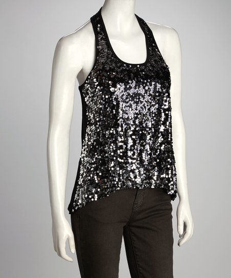 Black &amp; Sliver Sequin Racerback Tank