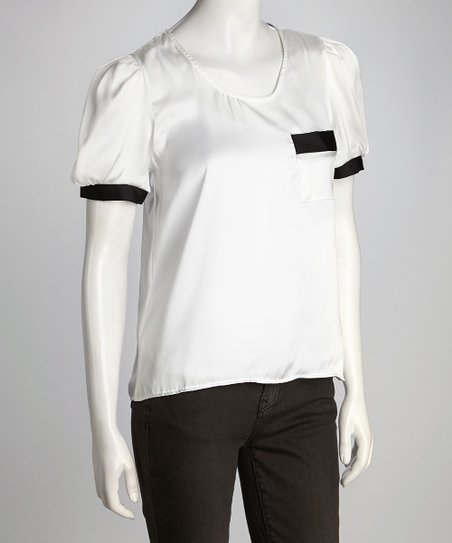 White &amp; Black Button Top