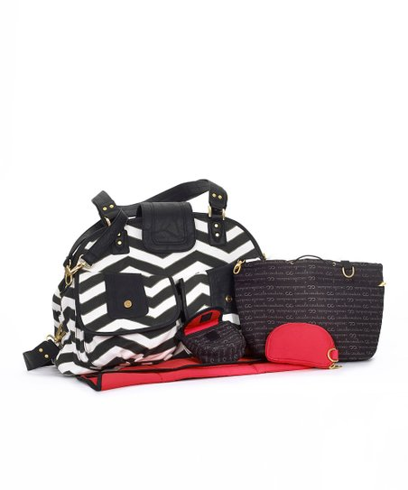 Black & White Zigzag Mila Diaper Bag