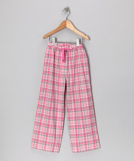 Creations Robo Candy Pink Plaid Drawstring Pants - Girls