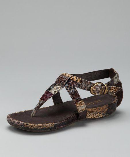 Brown Buckle T-Strap Sandal