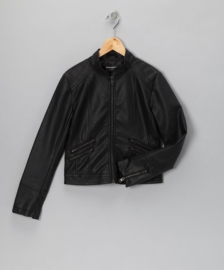 Black Faux Leather Double Zipper Jacket