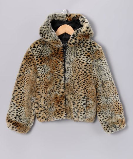 Brown Faux Fur Cheetah Jacket
