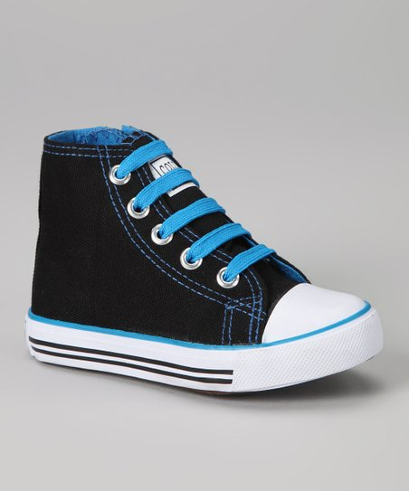 Black & Turquoise Zipper Hi-Top Sneaker