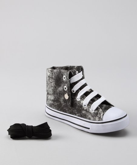 Gray Distressed Hi-Top Sneaker