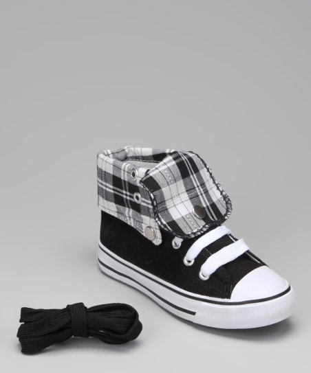 Black & White Plaid Hi-Top Sneaker