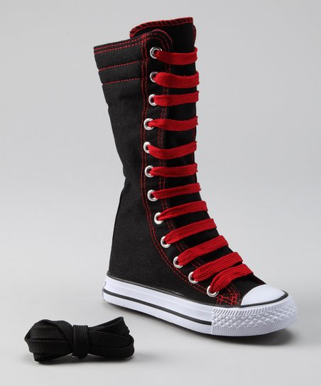 Black & Red Knee-High Sneaker