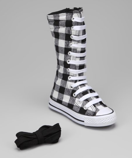 Black & White Plaid Knee-High Sneaker