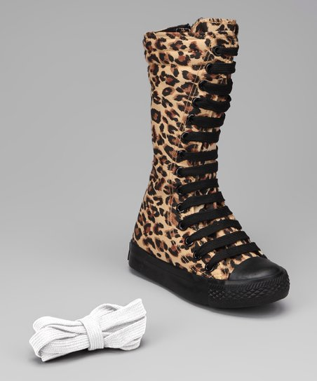 Black &amp; Leopard Knee-High Sneaker