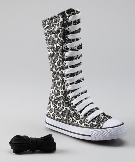 Gray Leopard Knee-High Sneaker
