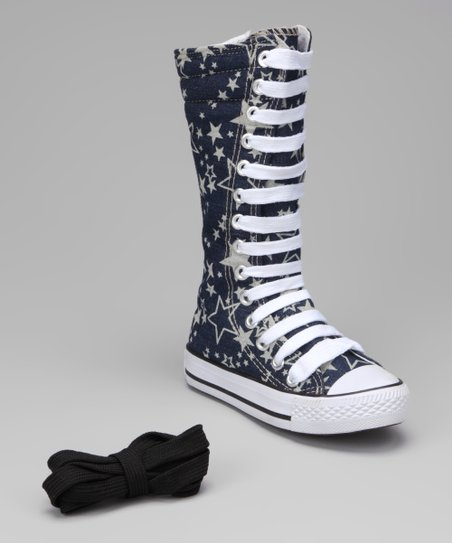 Navy & White Star Knee-High Sneaker