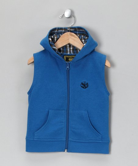 Blue Sleeveless Zip-Up Vest - Toddler & Boys