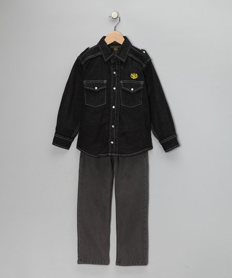 Black Button-Up & Jeans - Toddler
