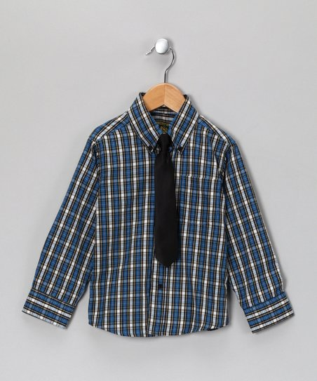 Blue Plaid Button-Up & Tie - Toddler & Boys