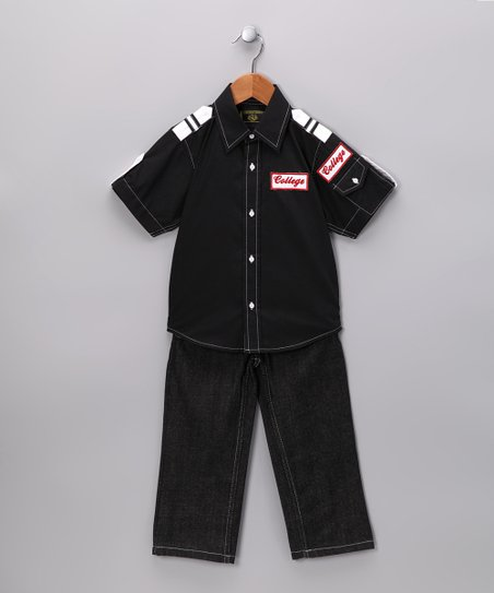 Black 'College' Button-Up & Jeans - Infant & Toddler