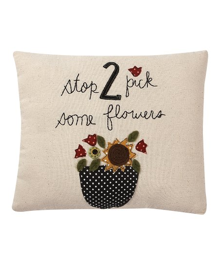 White &amp; Black &#039;Stop 2 Pick Some Flowers&#039; Throw Pillow