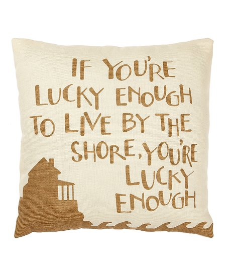 Cream &amp; Tan &#039;Lucky Enough&#039; Pillow
