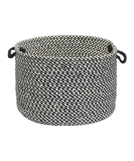 Black Houndstooth Tweed Outdoor Utility Basket