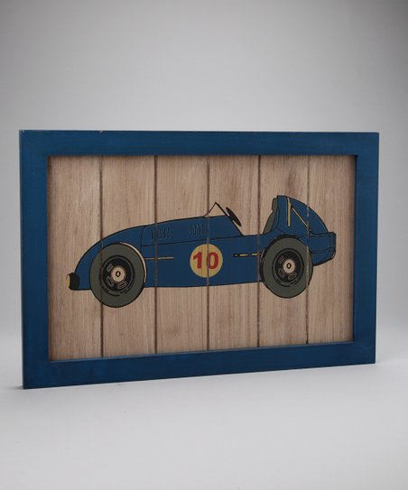 Blue Racecar Wall Plaque