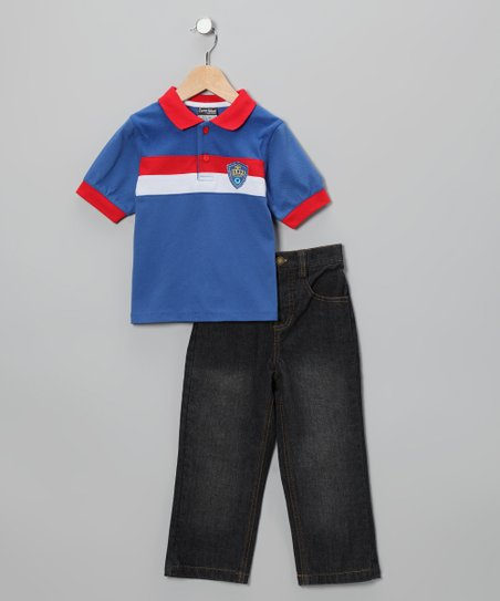 Blue & Red Stripe Polo & Jeans - Infant