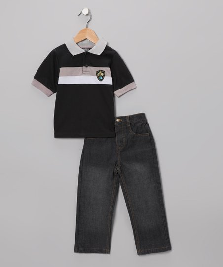 Black & Gray Stripe Polo & Jeans