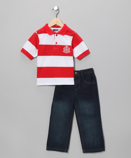 Red Stripe Polo & Jeans - Infant & Toddler