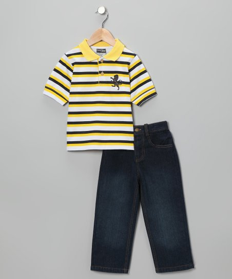 Yellow & Navy Stripe Polo & Jeans - Infant & Toddler