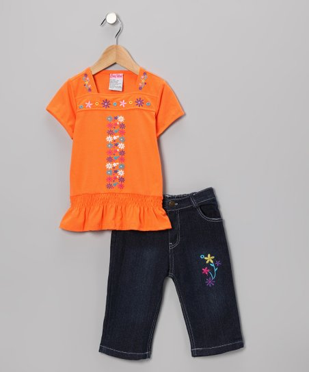 Orange Flower Tee & Capri Jeans