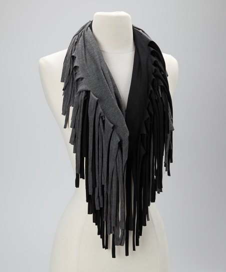 Black & Gray Reversible Fringe Scarf