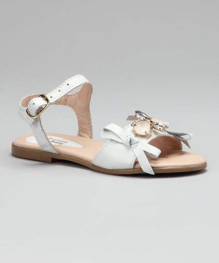 White Embellished Bow Sandal