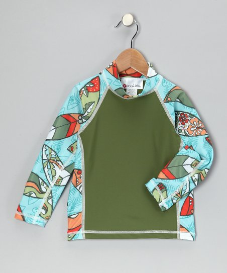 Olive Fishtail Long-Sleeve Rashguard - Kids