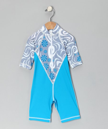 Turquoise Pinwheel One-Piece Rashguard - Infant